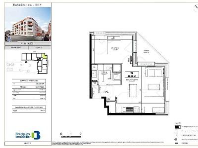 APPARTEMENT T2 A LOUER - LILLE SUD CHR - 45,06 m2 - 611 € charges comprises par mois