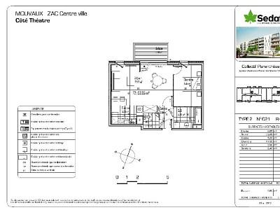 APPARTEMENT T2 - MOUVAUX - 53,35 m2 - LOUÉ