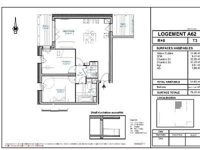 APPARTEMENT T3 A LOUER - LILLE WAZEMMES - 64,65 m2 - 920 € charges comprises par mois