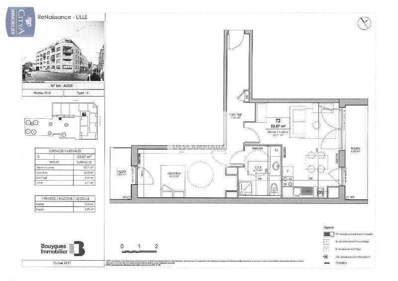 APPARTEMENT T2 - LILLE SUD CHR - 53,87 m2 - LOUÉ
