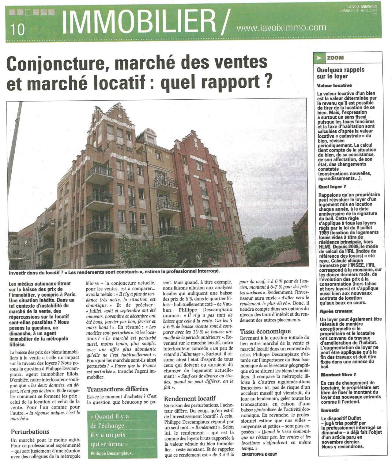 Conjoncture, marché des ventes et marché locatif : quel rapport ? (La Voix Annonces - 21/04/13)